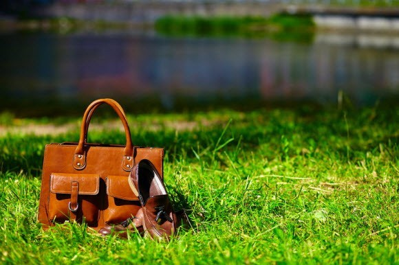 Leather-Bag-On-Grass