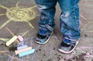Sidewalk chalk stains